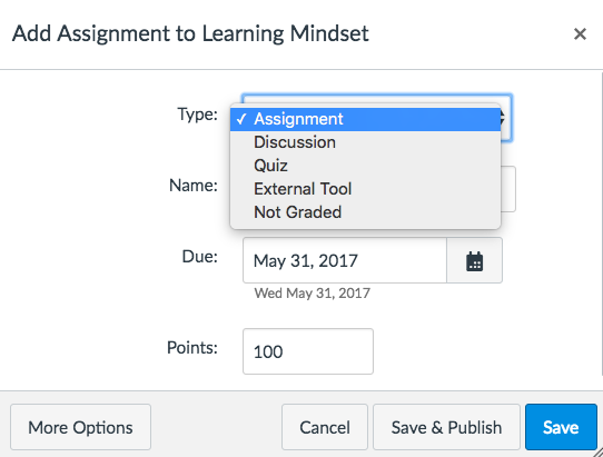 add assignment to assignment group screen