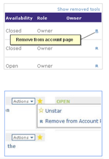 Remove tools from account page