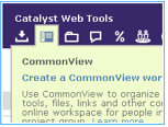 Hover over CommonView icon to create a new workspace