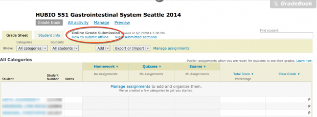 Image of GradePage with link to online grade report highlighted