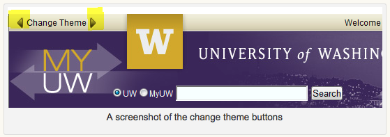 Image of the change theme buttons