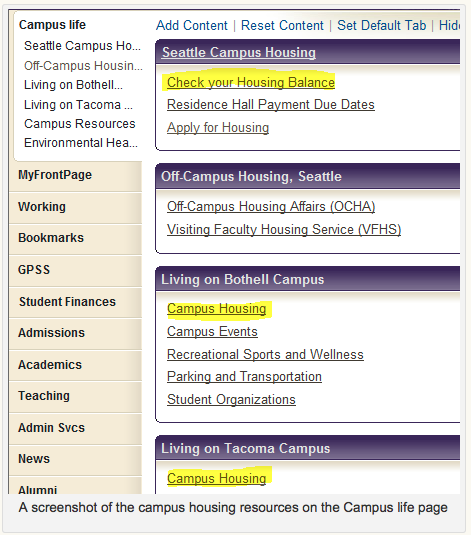 Screen shot Campus Housing Resources on Campus Page