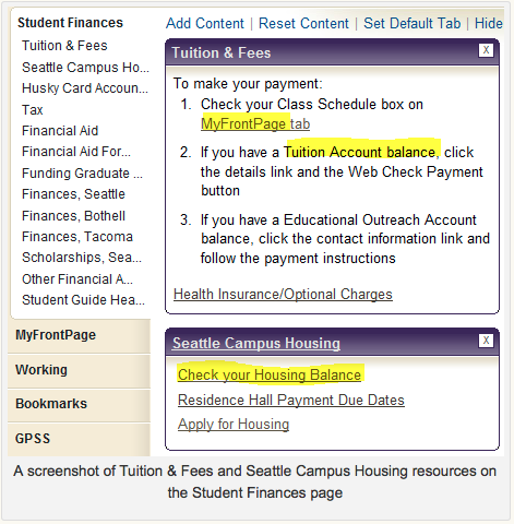Screen shot Tuition & Fees and Seattle Campus Housing resources on the Student Finances page