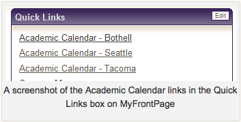 Screen shot of Academic Calendar Link within QuickLinks box on Front Page