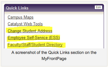 Screen shot of Quick Links section