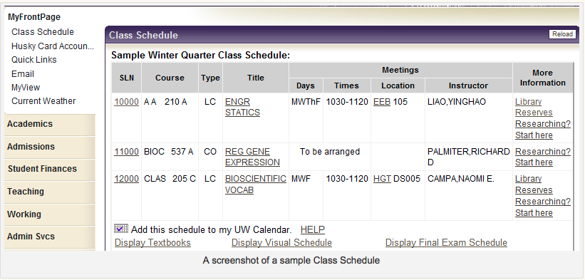 Screen shot of Sample Class Schedule