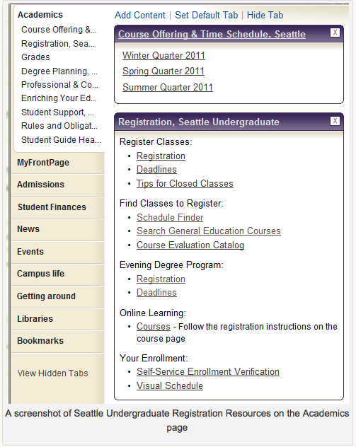 Screen shot of Seattle Undergraduate Resources on the Academics Page