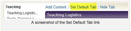 Screen shot of Set Default Tab link
