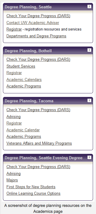 Screen shot of degree planning resources on the Academics Page