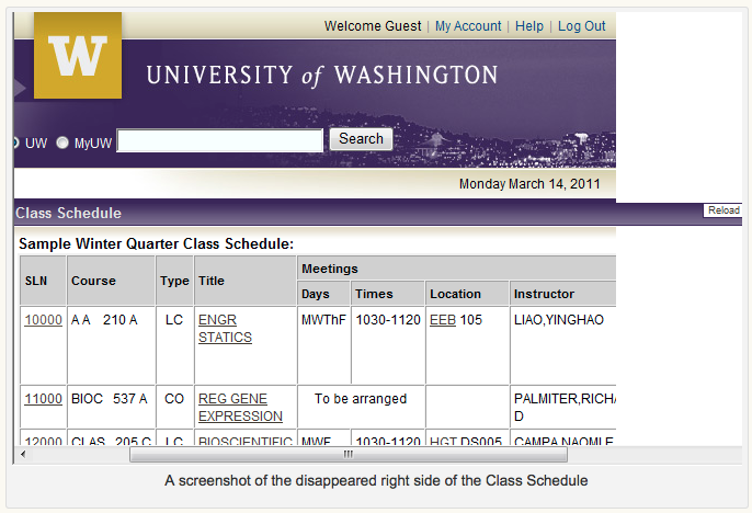 Screen shot of the disappeared right side of class schedule