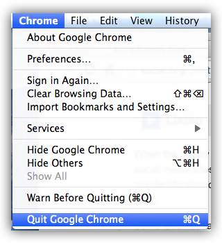Apple Chrome Quit