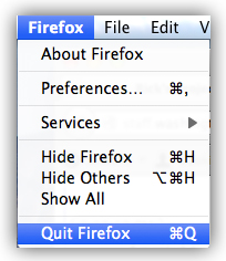 Apple Firefox Quit