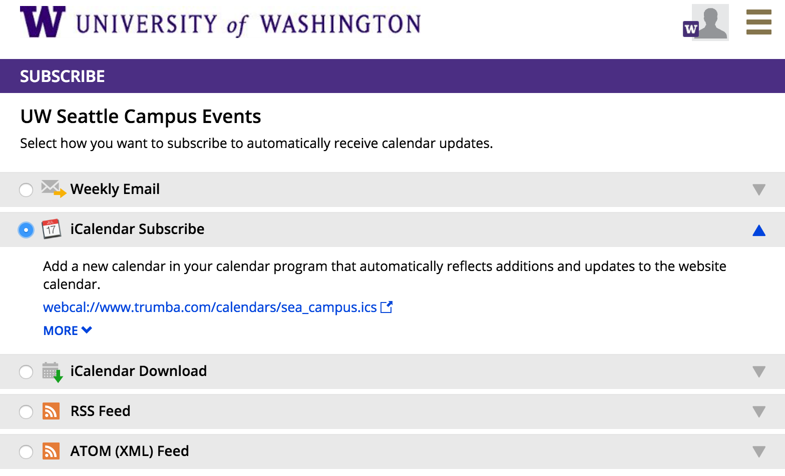 interface for subscribing to the campus calendar