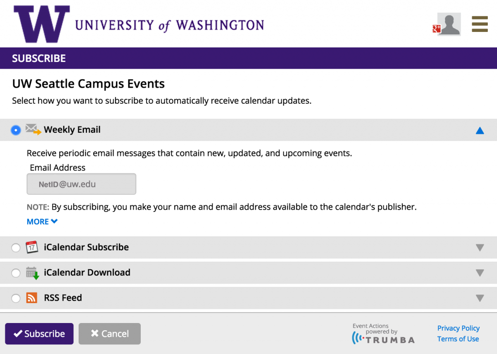 Interface for subscribing chosen calendar to Outlook Mail to receive regular messages about upcoming events.