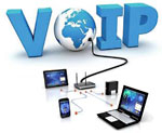 VOIP graphic with earth and laptop