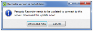 Dialog box that you will see if you do not install the recorder by March 23, 2016