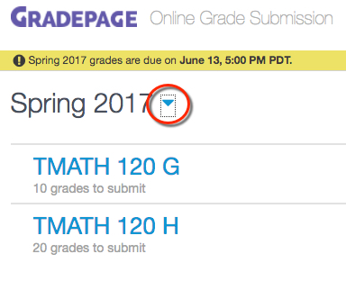 User interface of GradePage, with blue triangle highlighted by red circle.