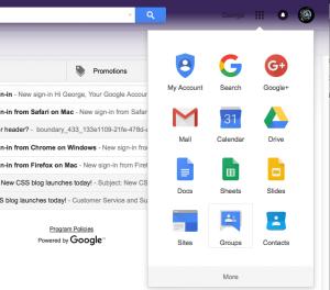 Google Groups App menu