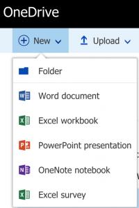 OneDrive menu