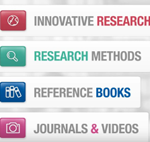 Innovative research, research methods, reference books, journals & videos graphic
