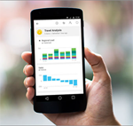 Person holding cell phone showing Power BI data graphs