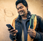 Student holding mobile phone