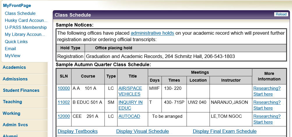 Check My Class Schedule It Connect