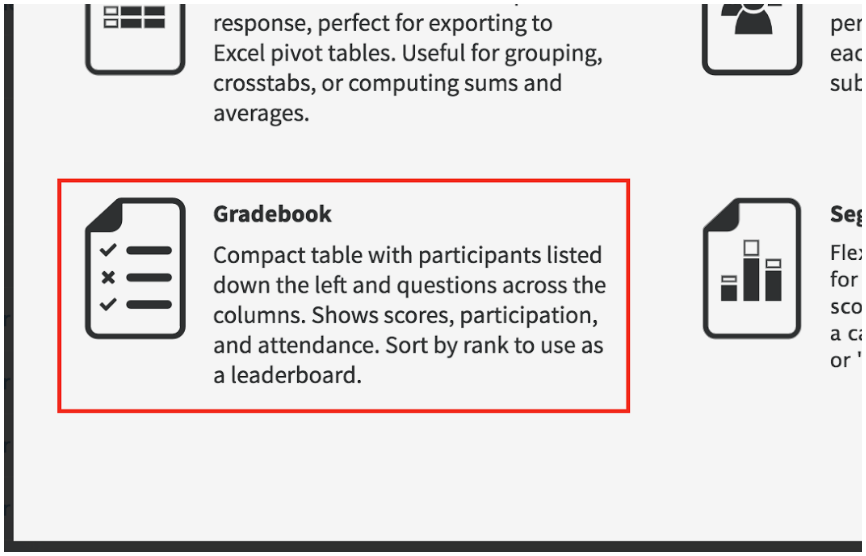 Select Gradebook Report