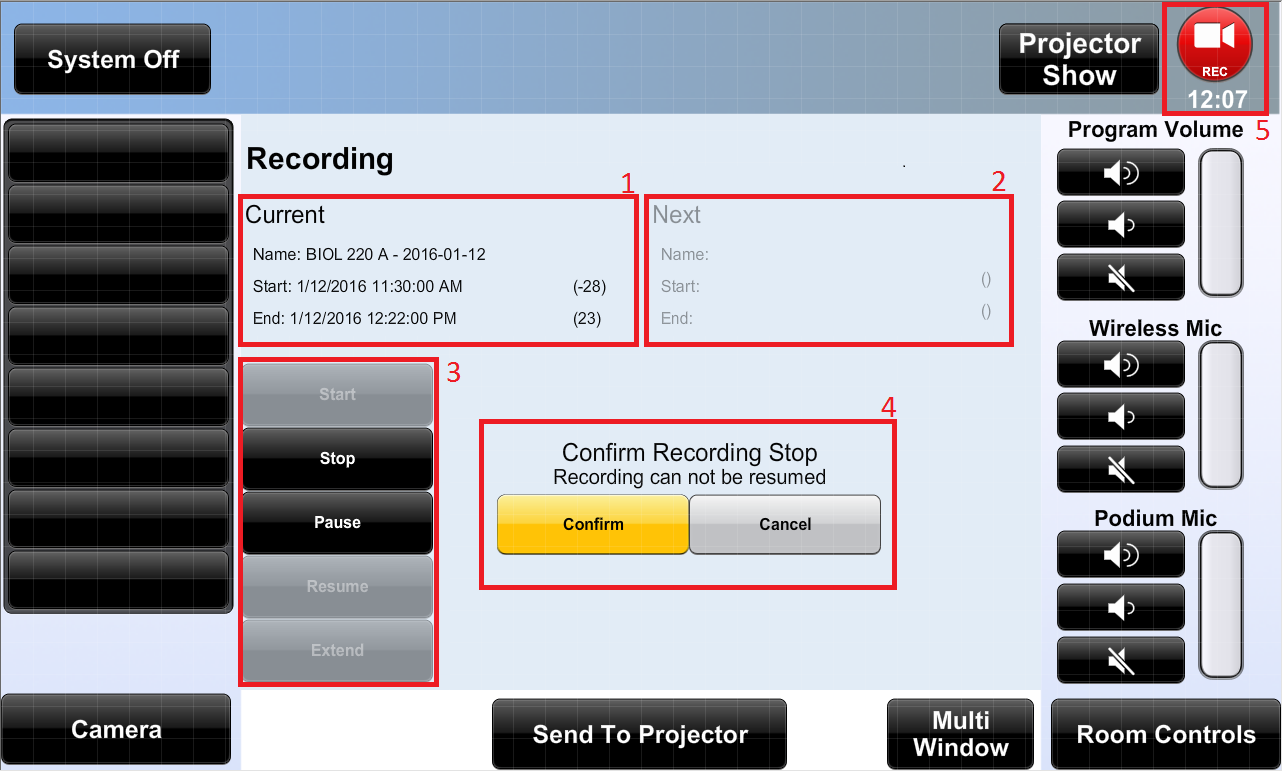 Touch panel for in-classroom recorders