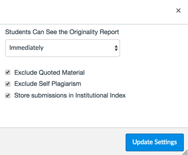 "Dialog box showing Advanced VeriCite Settings, including ""Exclude quoted material"" ""Exclude Self Plagiarism"" and ""Store Submissions in Institutional Index"""