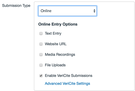 Submission type selection area with Enable VeriCite Submissions checkbox selected