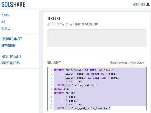 Sample query with code selected