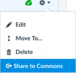 Canvas interface with Settings icon and dropdown menu with Share to Commons menu item highlighted