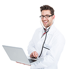 doctor holding laptop