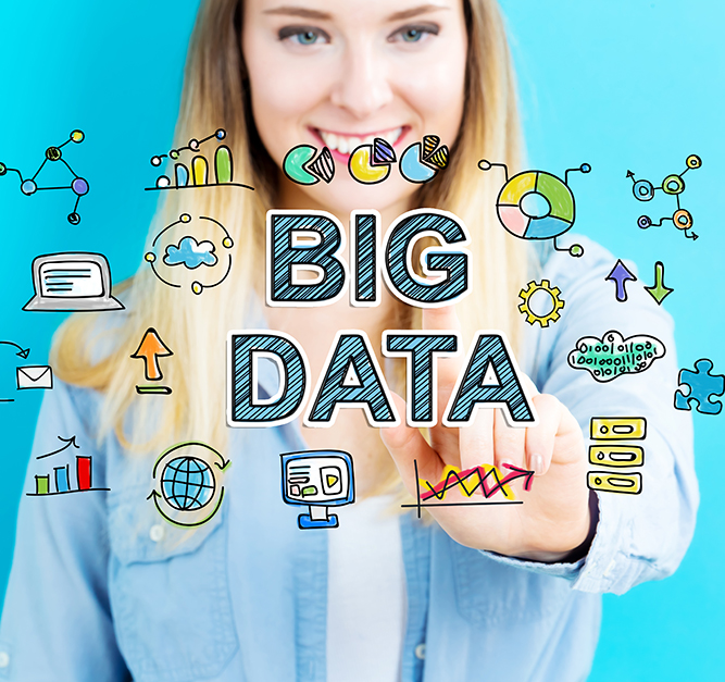 Big data graphic in front of young woman