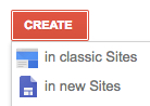 screenshot of user interface in Google Sites where you choose to create a classic or new site