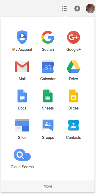 Google tools that appear after you click the gray grid on the top right of the screen of a Google page
