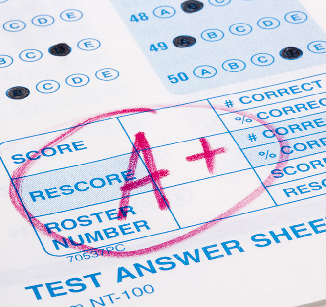 Perfect grade on a scantron test
