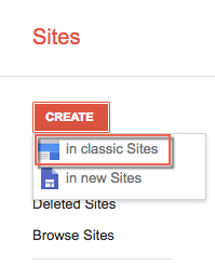 After you click Create, click in classic Sites
