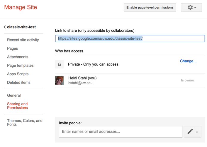 Sharing screen, with URL field and other options for sharing a Google site