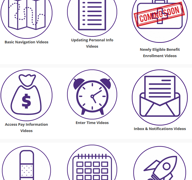 Icons of different Workday videos