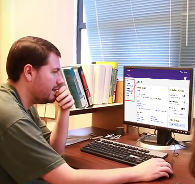 Man in front of computer with MyUW on screen