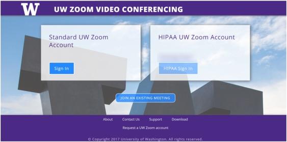 UW Zoom log in screen