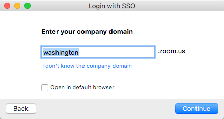 enter washington in the company domain field