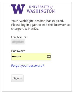 UW web log in