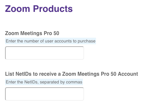 First two fields on zoom order form