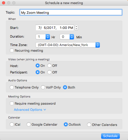 Zoom Dialog Box for Scheduling a Meeting