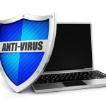 Anti-virus shield protecting laptop