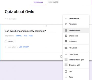 Creating questions in Google Form