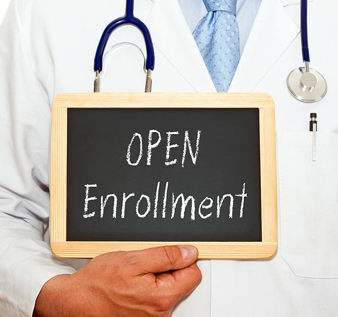 Open Enrollment - Doctor with chalkboard